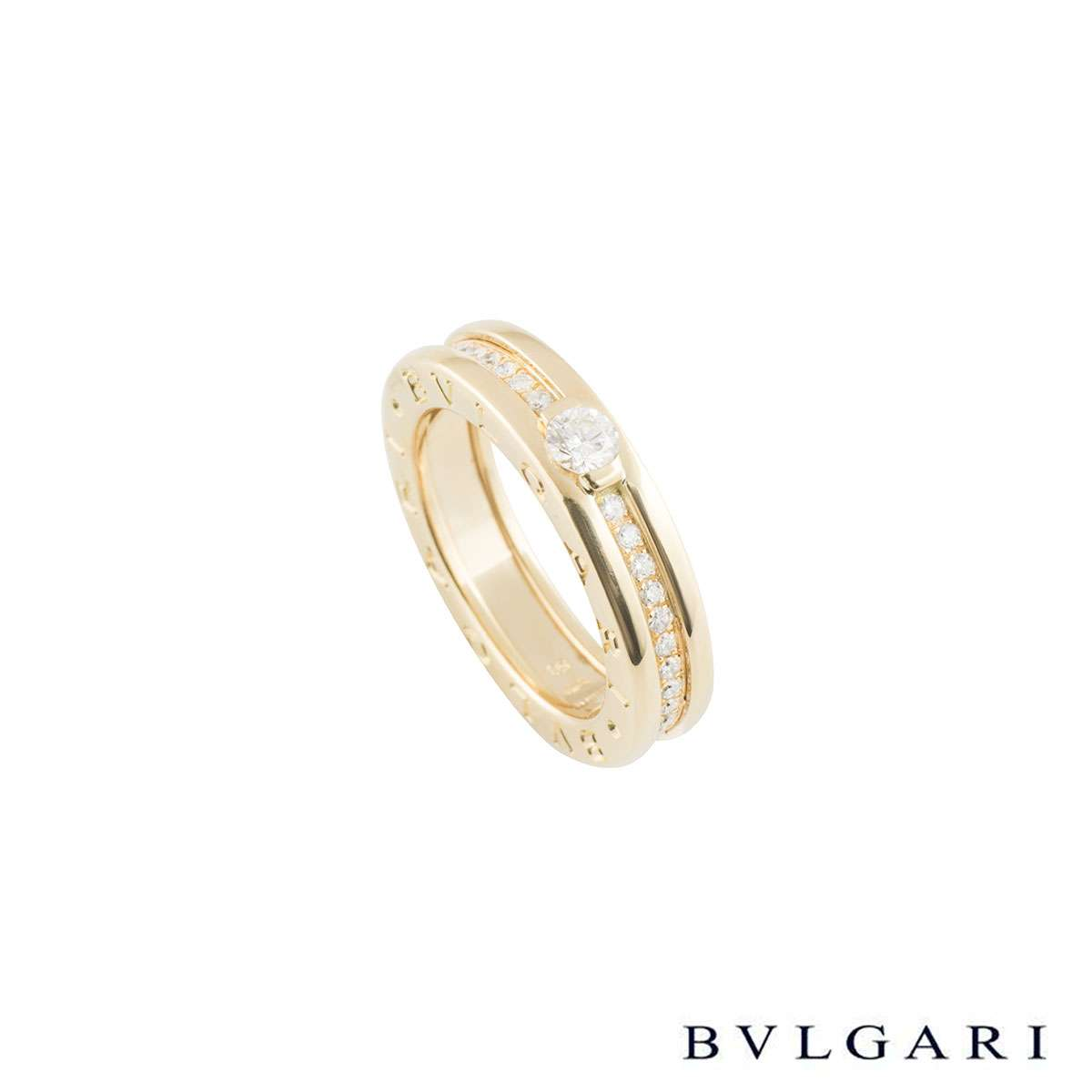 Bvlgari Yellow Gold Diamond B.Zero1 Ring Size 50